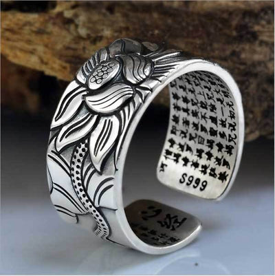 Silver Lotus & Heart Sutra Ring
