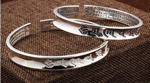 Image of Silver Tibetan Mani Mantra & Heart Sutra Bracelet