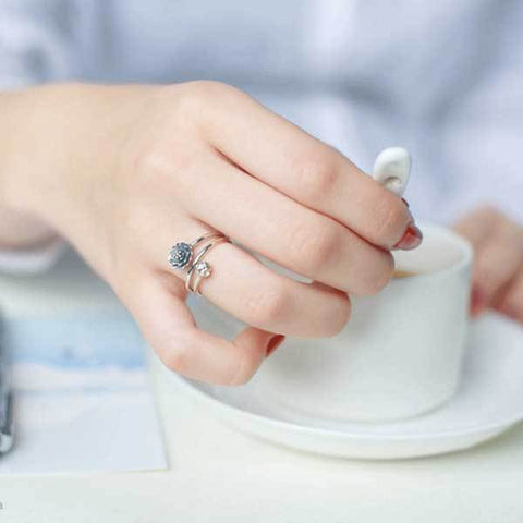 Image of Silver Triple Wrap Lotus Ring