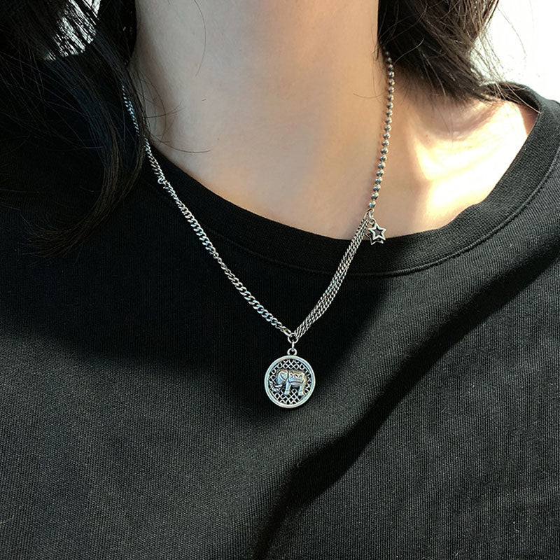 Silver Star Elephant Necklace