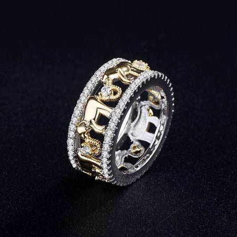 Image of Stone Studded Elephant Ring