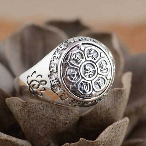 Image of Tibetan Buddhism Mani Mantra Lotus Signet Ring