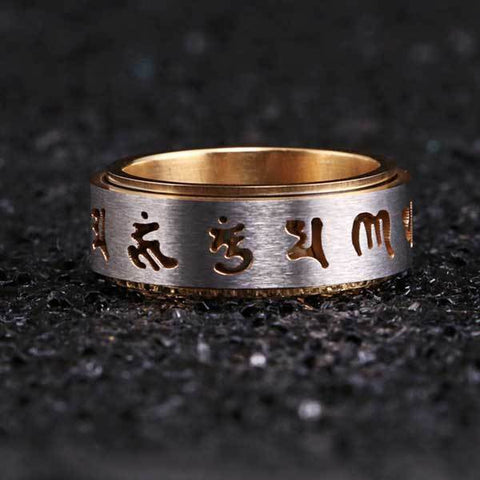 Tibetan Rotating Mani Mantra Ring
