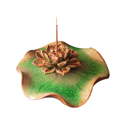 Tibetan Lotus Ceramic Incense Stick Burner - Others - Inner Wisdom Store