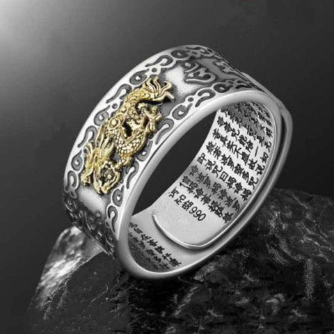 Image of Feng Shui Dragon Mani Mantra Protection Fortune Ring