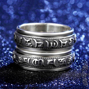 Tibetan Mani Mantra Wheel of Life Ring