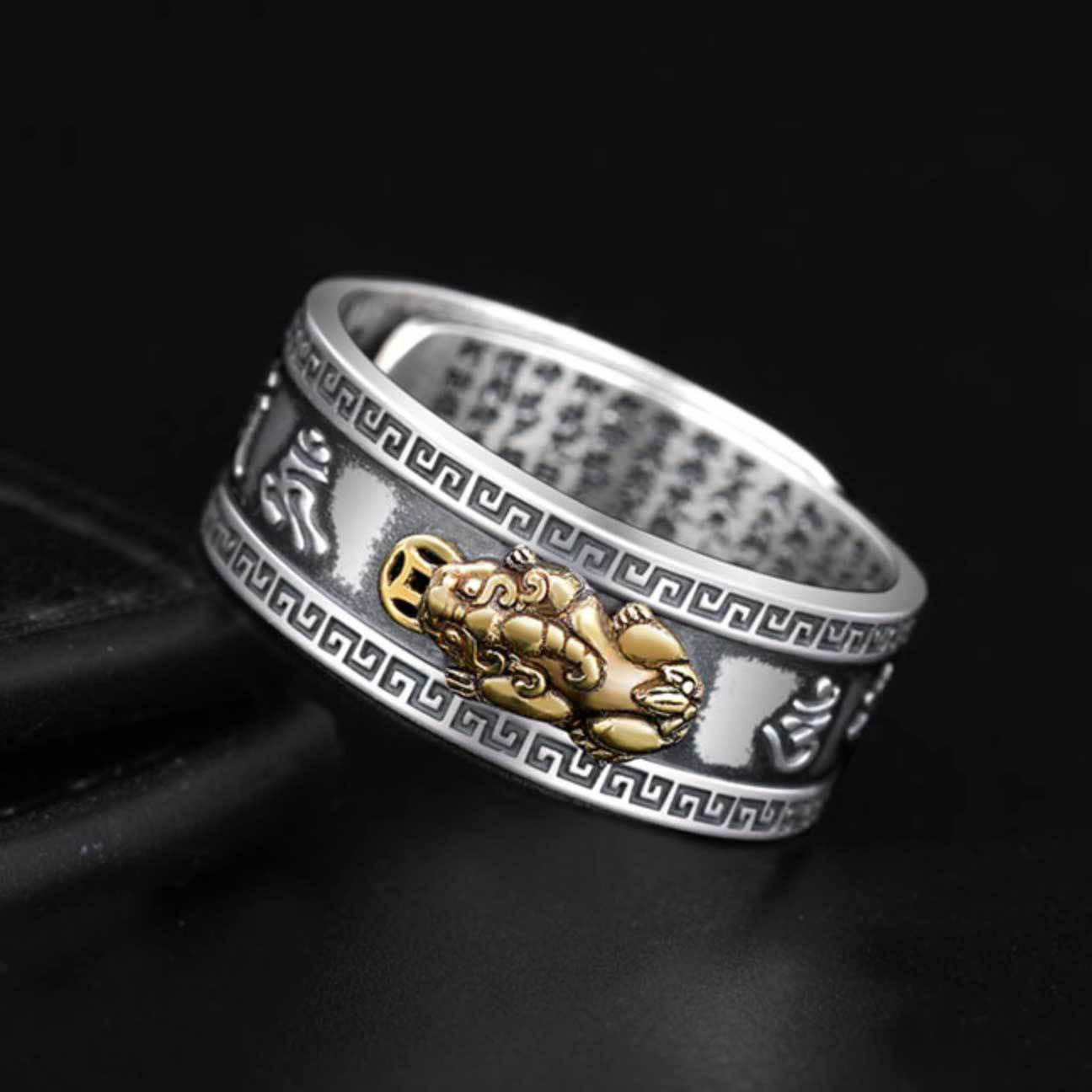 Feng Shui Pixiu Mantra Wealth & Protection Ring - Ring - Inner Wisdom Store