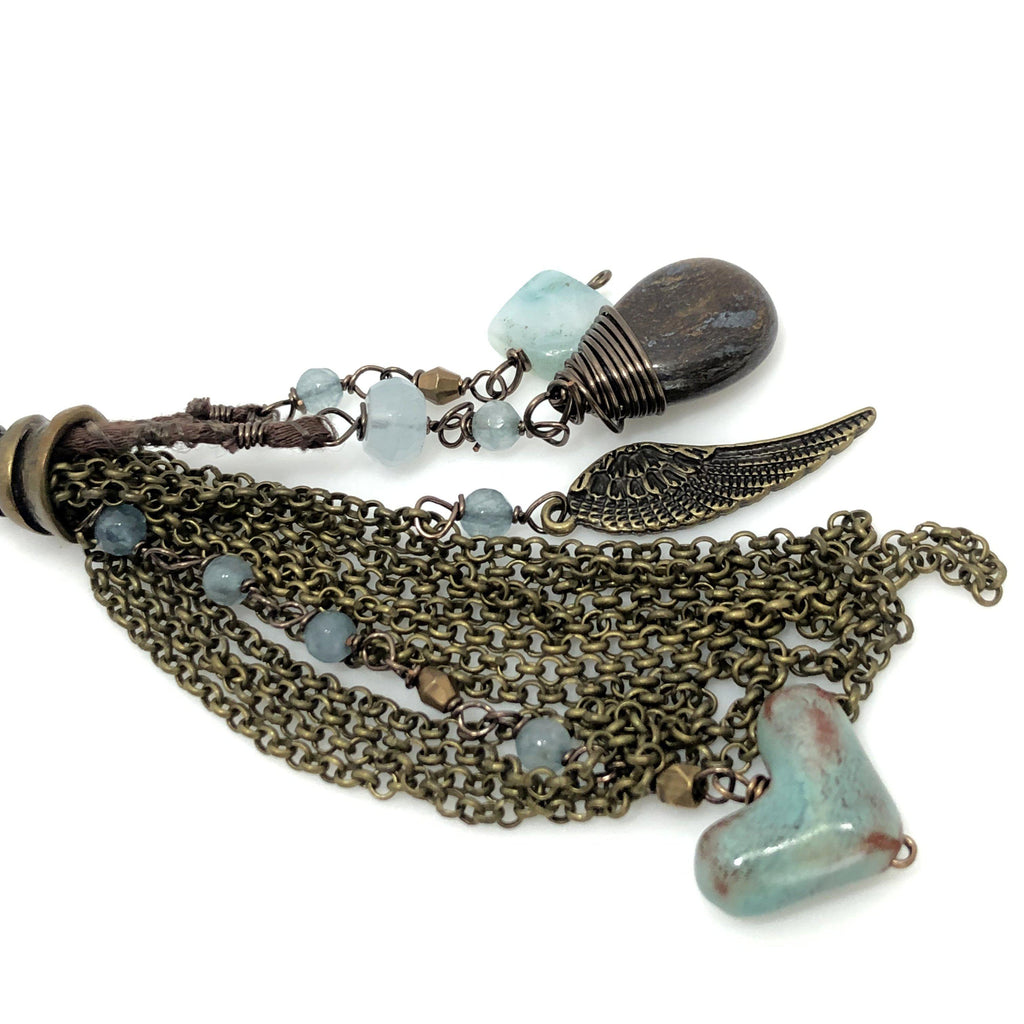 Mexico | Blue Agate Wood Necklace