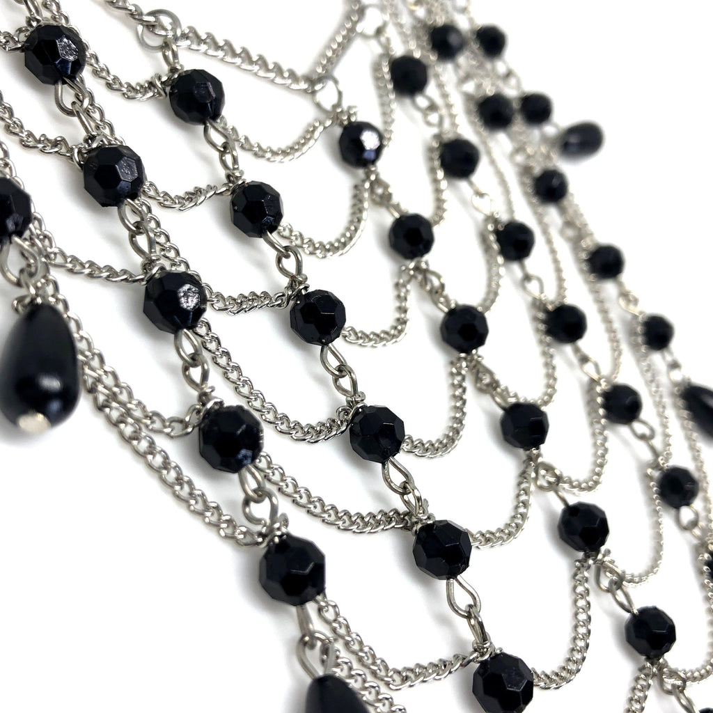 NIKouture Webby Black Crystal Glass Beads Necklace