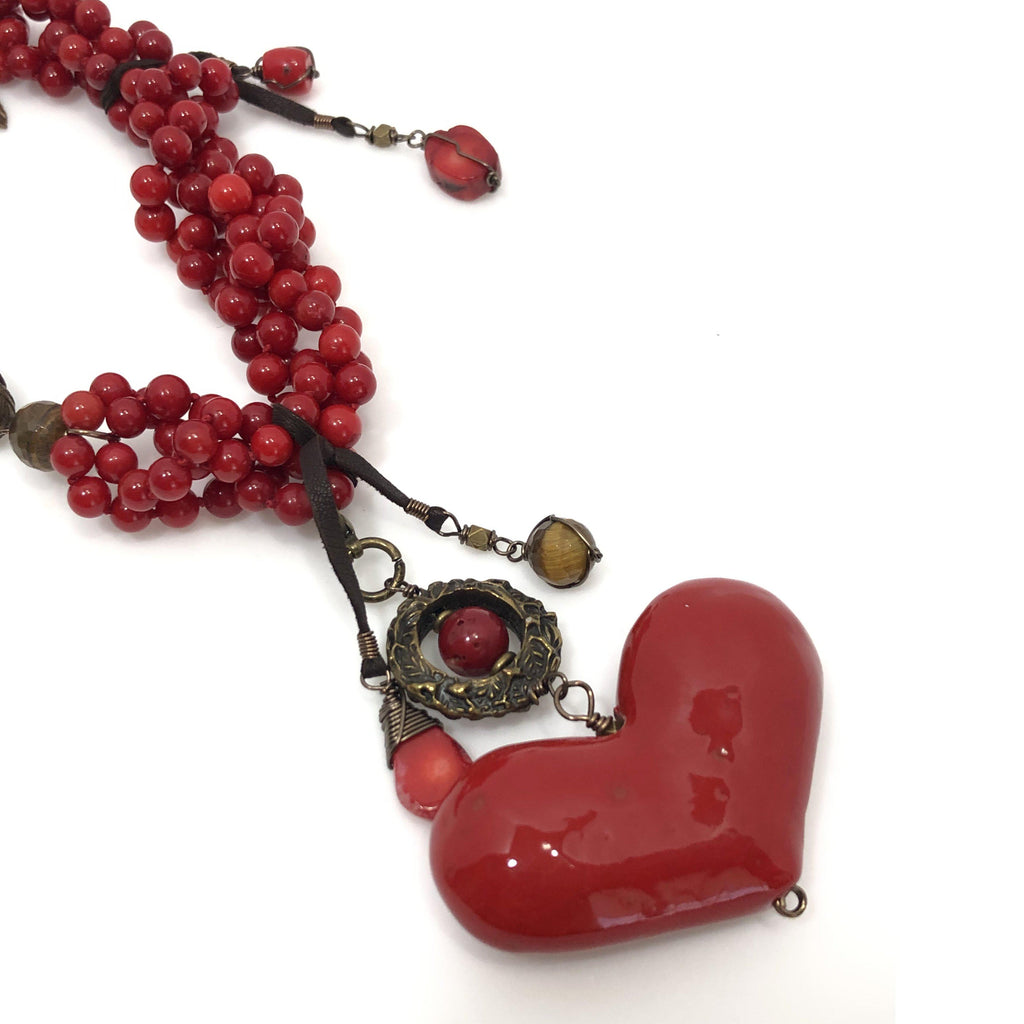 Mexico | Rojo Mexcla Heart Necklace