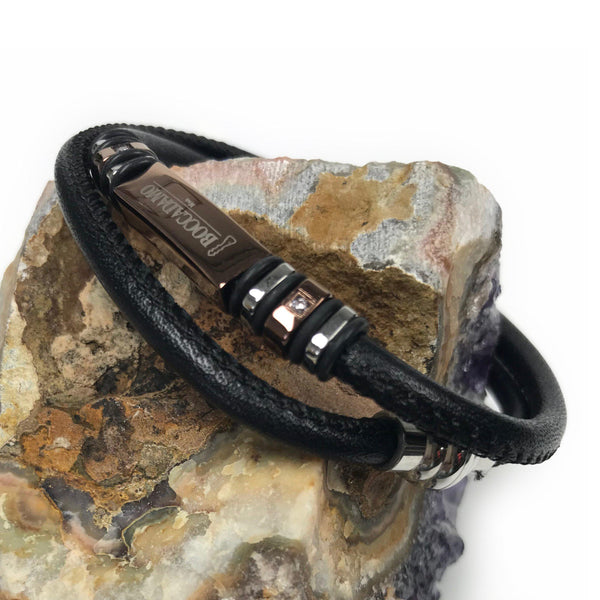 Multi-strip leather bracelet in Bronze and silver embellished with Swarovski crystal.
