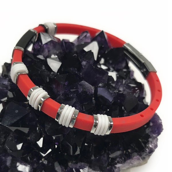 Red rubber bracelet with stainless steel.