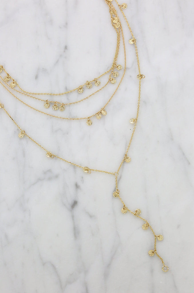 Layered Chain and Gold Disc Necklace