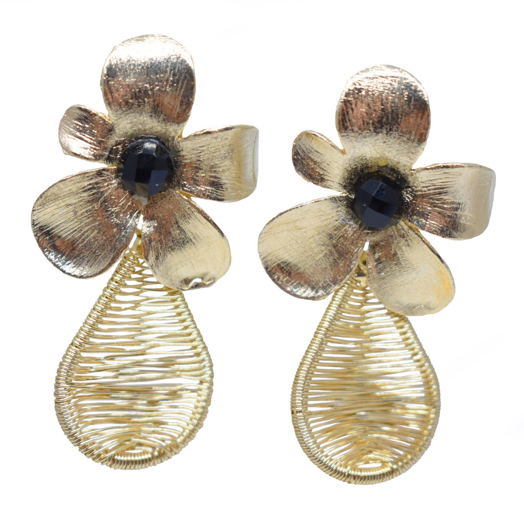 Brazil | Gold Bloom Drop Earrings-earrings-Black-N.I.Kouture