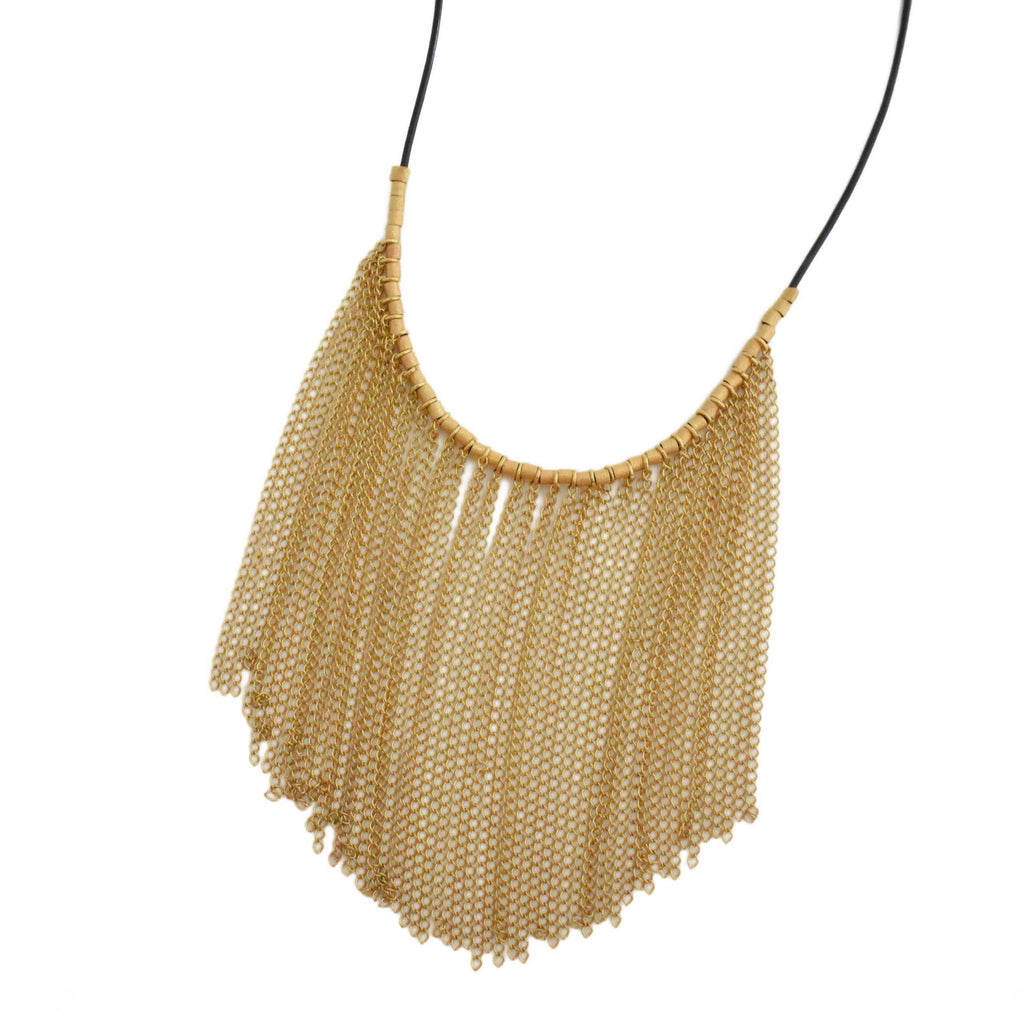 Brazil | Golden Rio Curtain Necklace-necklace-N.I.Kouture
