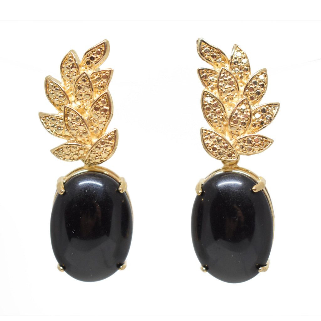 Brazil | Piña Vine Up Earrings-earrings-Black-N.I.Kouture