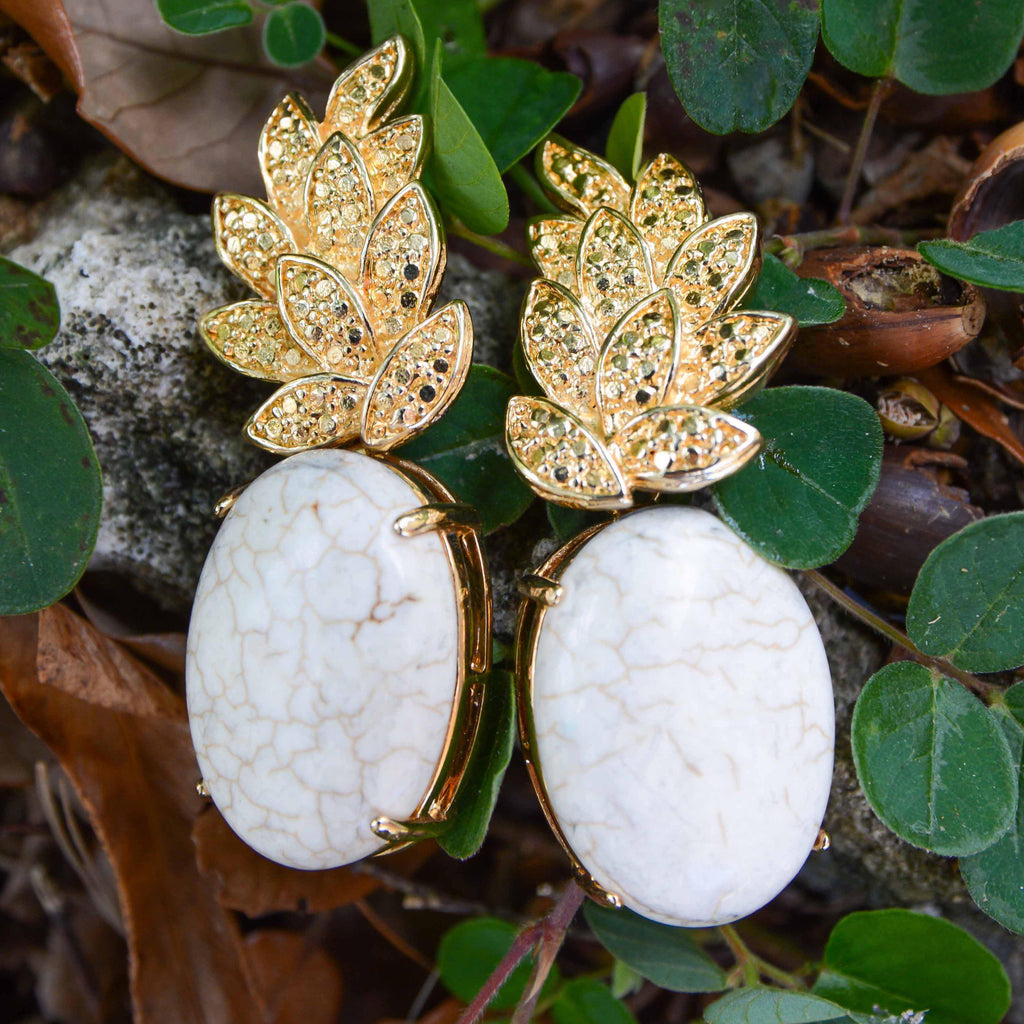 Brazil | Piña Vine Up Earrings-earrings-White Marble-N.I.Kouture