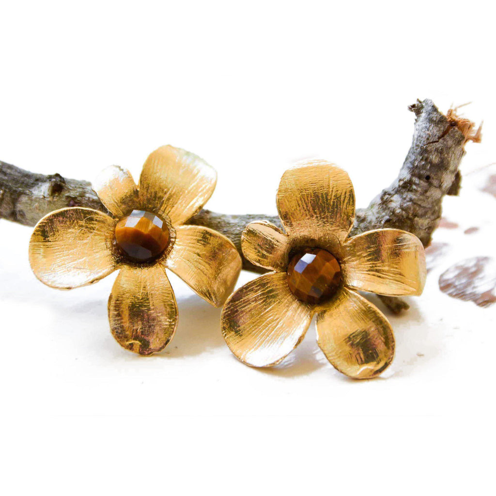 Brazil | Spring Bloom Earrings-earrings-Tigers eye-N.I.Kouture