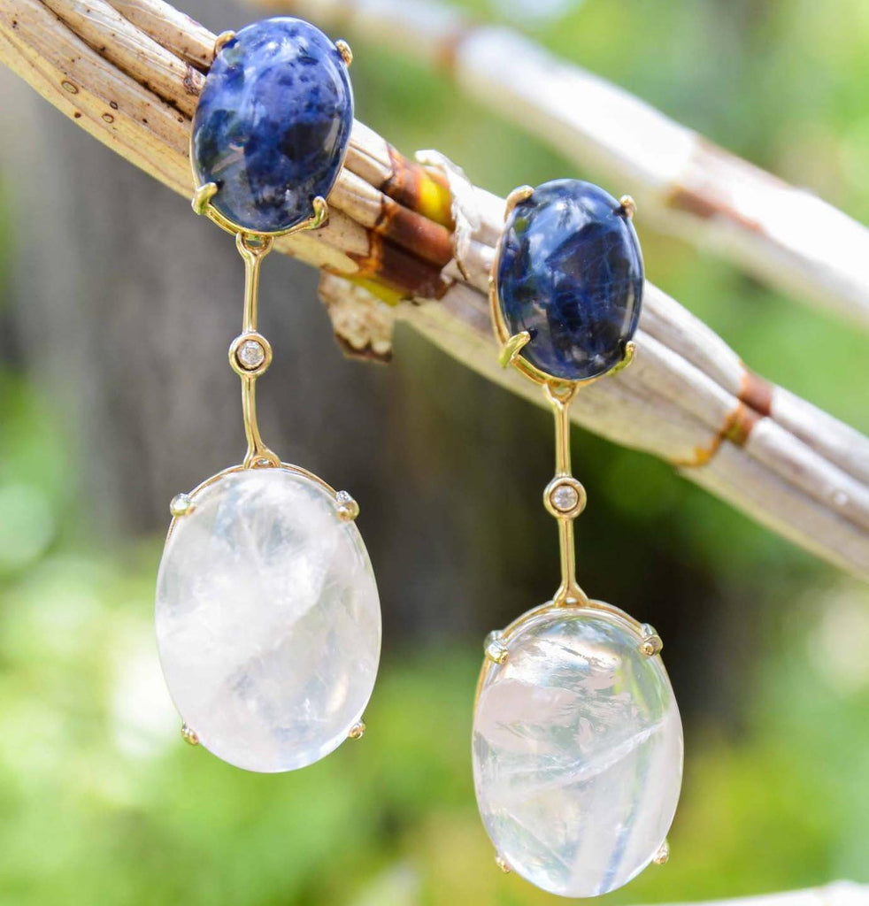 Brazil | Translucent Rio Drop Earrings-Blue lapiz & rose quartz-N.I.Kouture