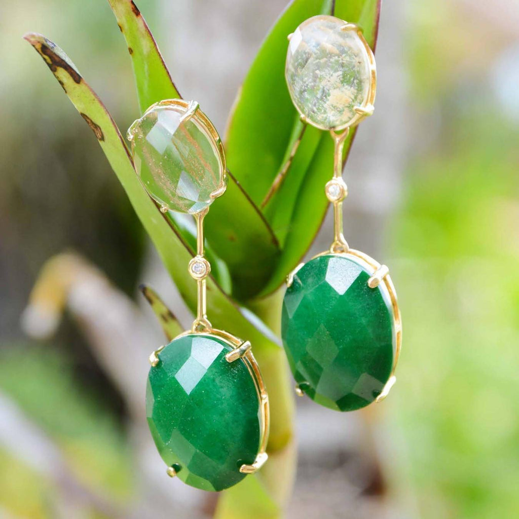 Brazil | Translucent Rio Drop Earrings-Clear quartz & emerald-N.I.Kouture