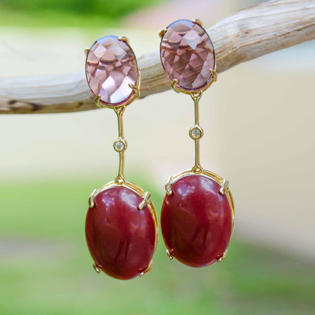 Brazil | Translucent Rio Drop Earrings-Plum & rose quartz-N.I.Kouture