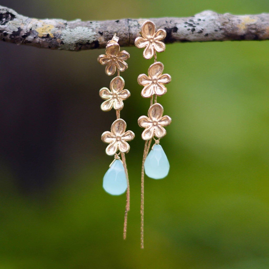 Brazil | Tri-Bloom Flowers Earrings-earrings-Aqua-N.I.Kouture