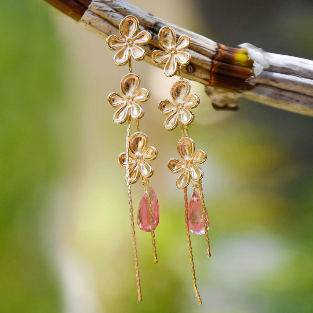 Brazil | Tri-Bloom Flowers Earrings-earrings-Pink-N.I.Kouture