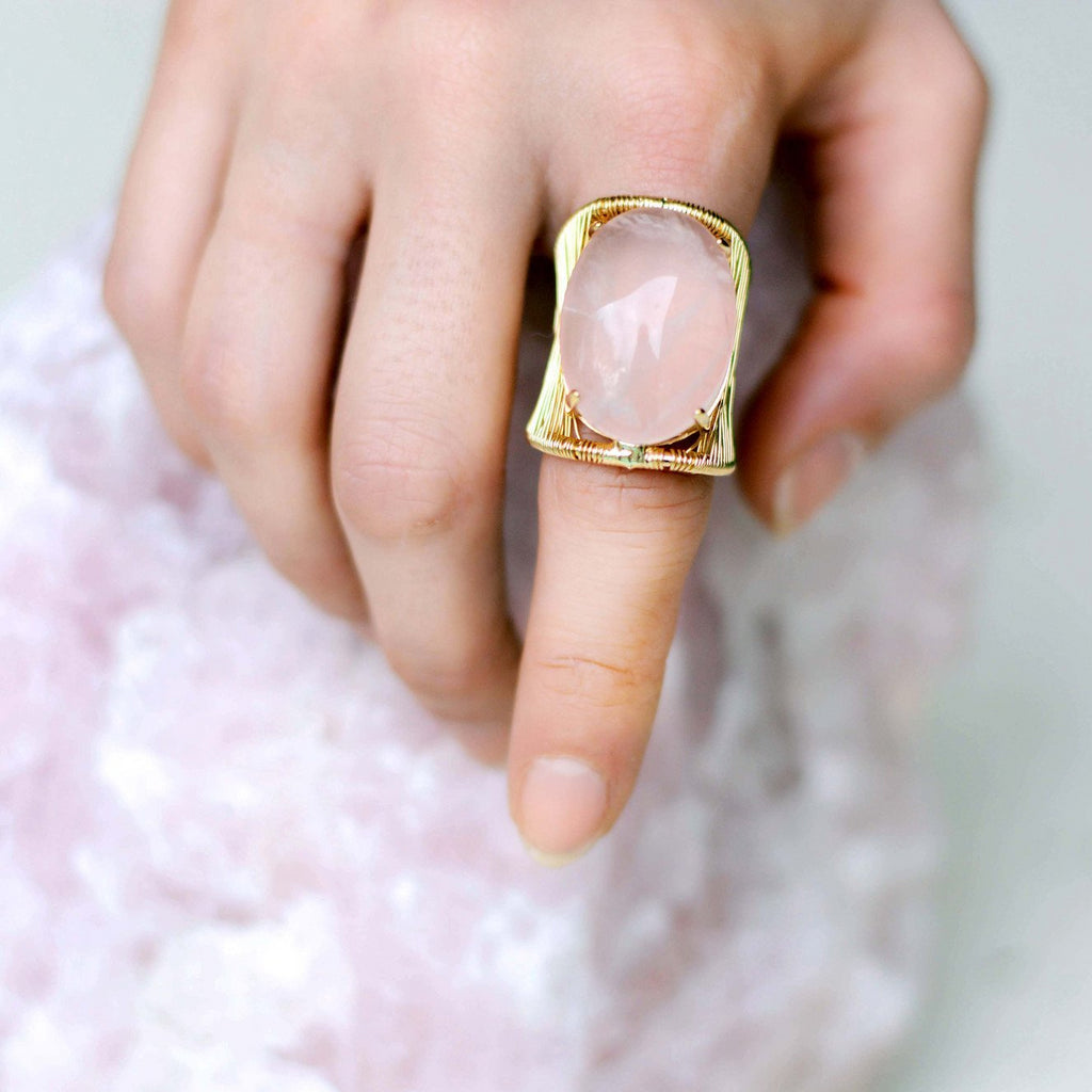 Brazil | Wrapped Pink Quartz Ring-Ring-pink-N.I.Kouture