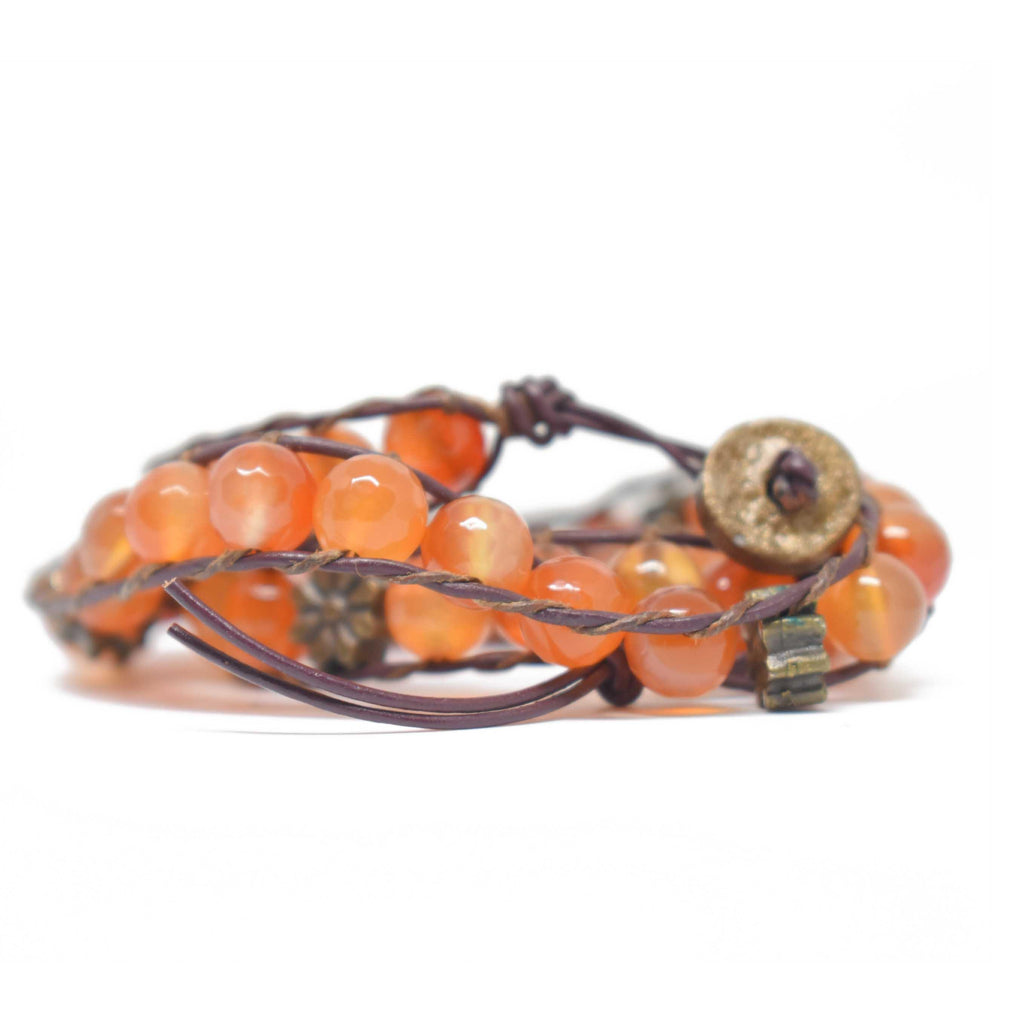 Mexico | Beaded Agate Bracelet-bracelet-Orange-N.I.Kouture