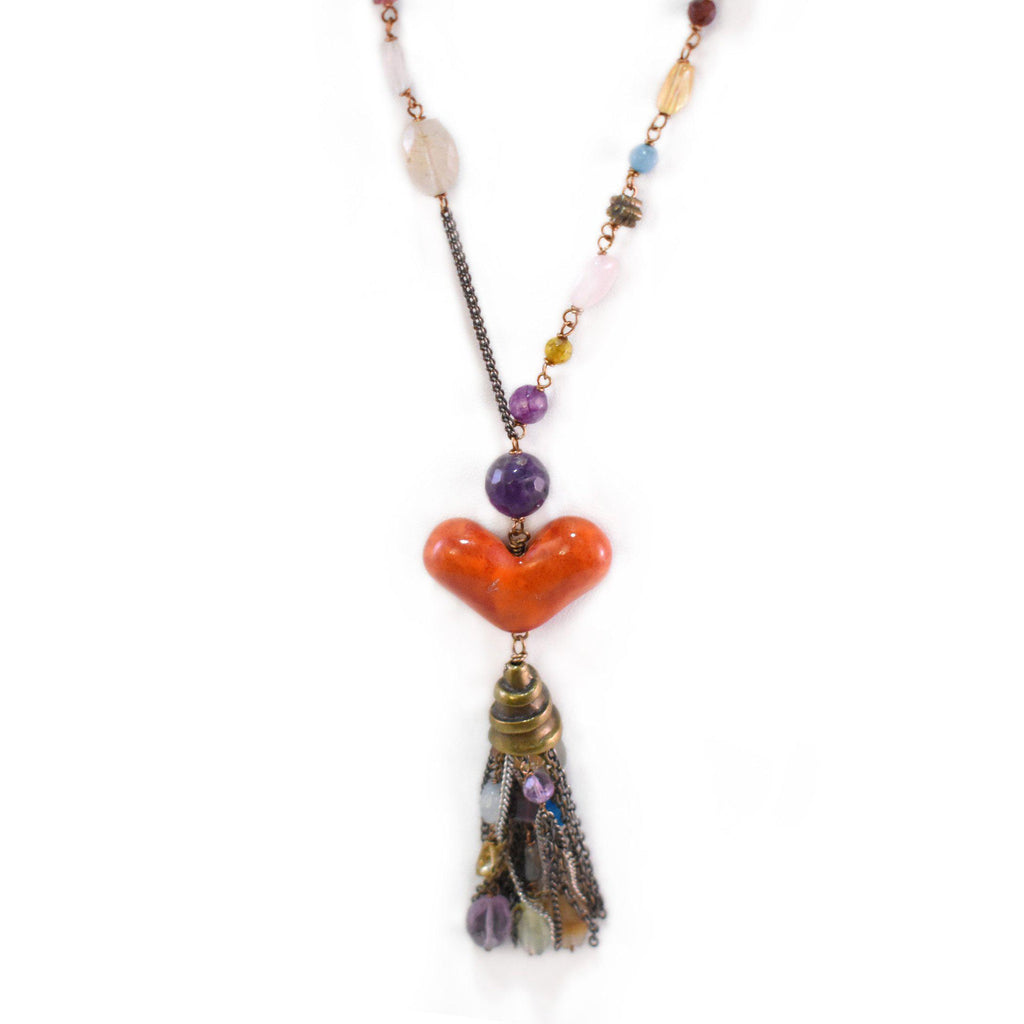 Mexico | Corazon Tassle Necklace-necklace-N.I.Kouture