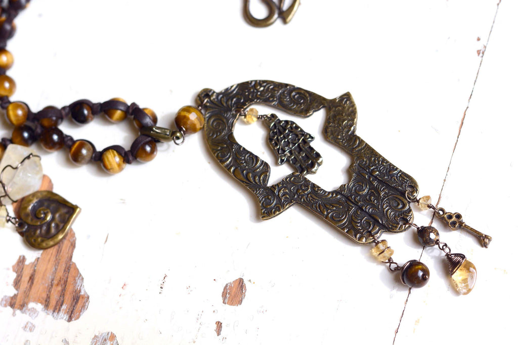 Mexico | Hamsa long beaded Necklace-necklace-N.I.Kouture