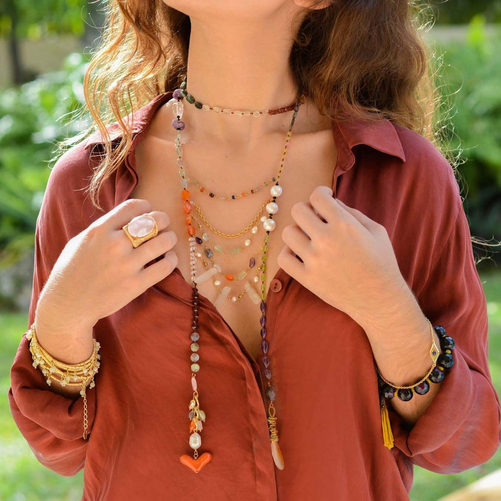 Mexico | Ladder Heart Necklace-necklace-N.I.Kouture