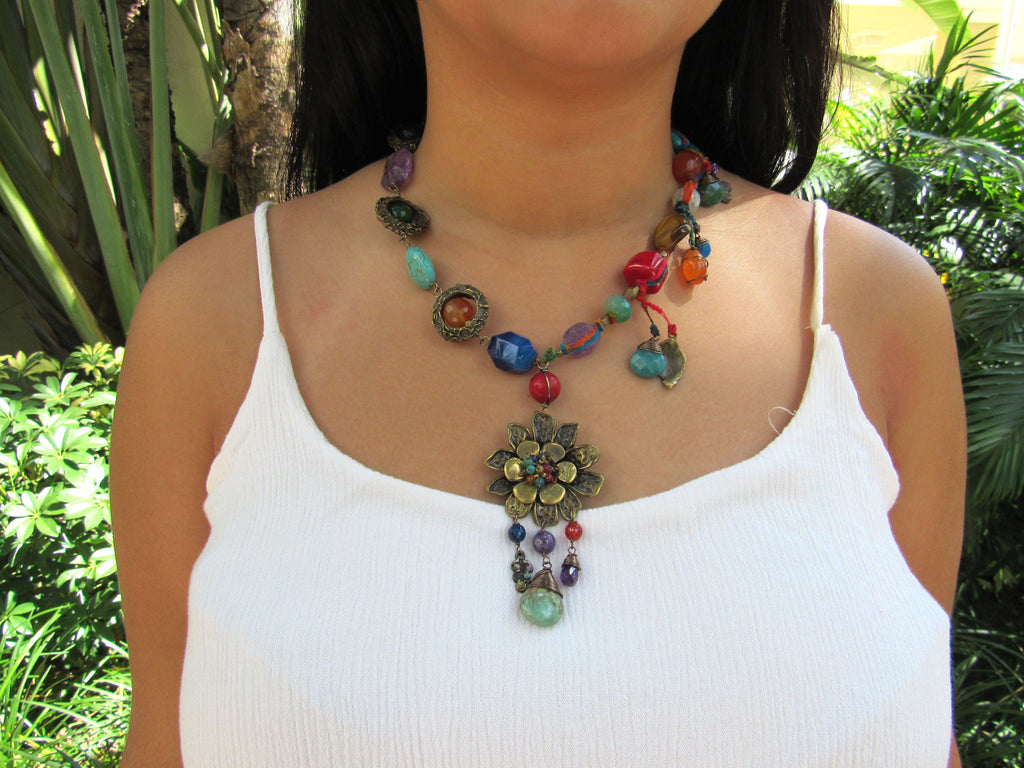 Mexico | Multi-Color Puebla Stone Necklace-necklace-N.I.Kouture