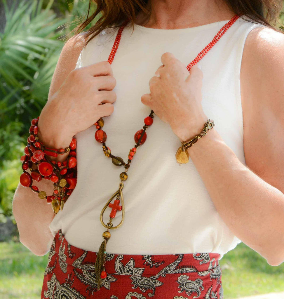 Mexico | Tijuana Coral Necklace-necklace-N.I.Kouture