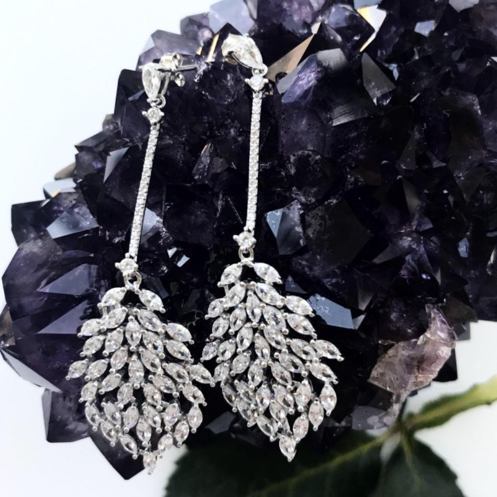 Thailand | Drop Leaf Brilliance Earrings-earrings-N.I.Kouture