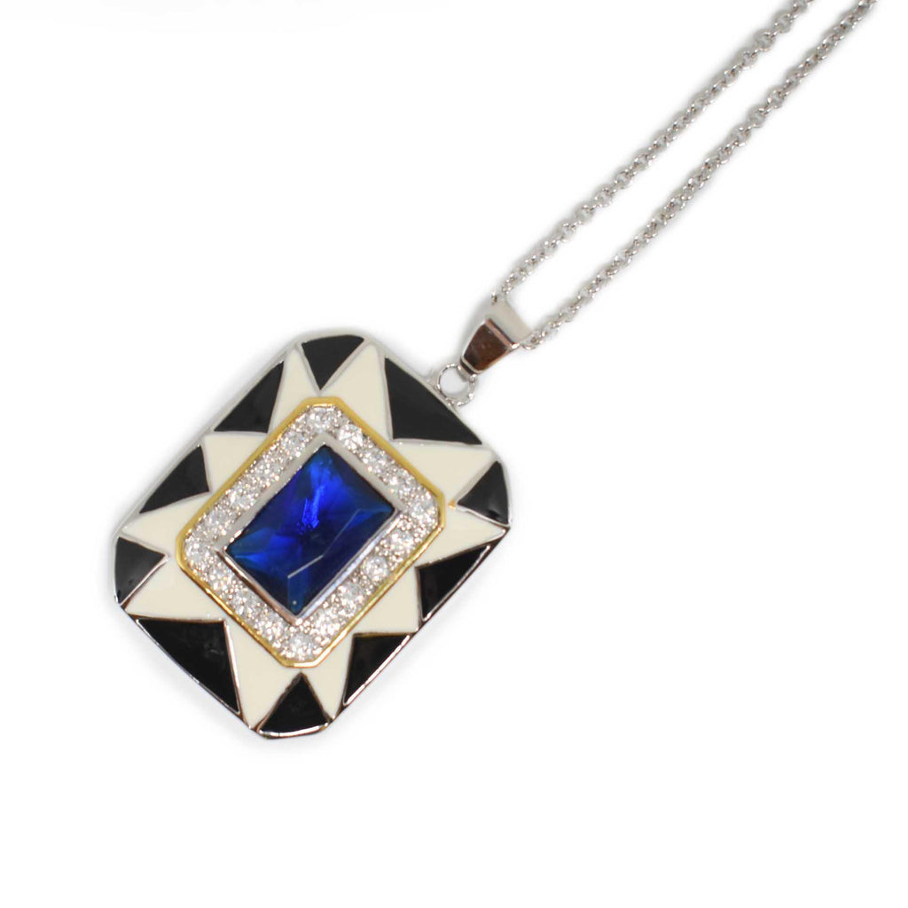 USA | Art Deco Blue Necklace-necklace-N.I.Kouture