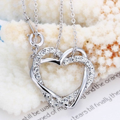 Hearts Entwined Necklace made with Swarovski Crystal Elements