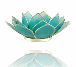 Chakra Lotus Flower Tea Light Holder - Capiz Shell - 5th Chakra