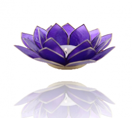 Chakra Lotus Flower Tea Light Holder - Capiz Shell - 6th Chakra