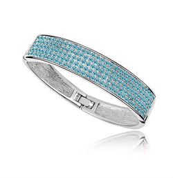 Crystal Pave Bangle - Platinum Plate - FREE Shipping