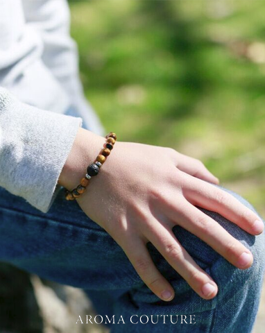 Kid's Tiger's Eye and Lava Diffuser Bracelet- Aroma Couture™