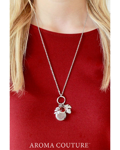 "Garnet & Leaves Diffuser Necklace 30"" - Aroma Couture™"