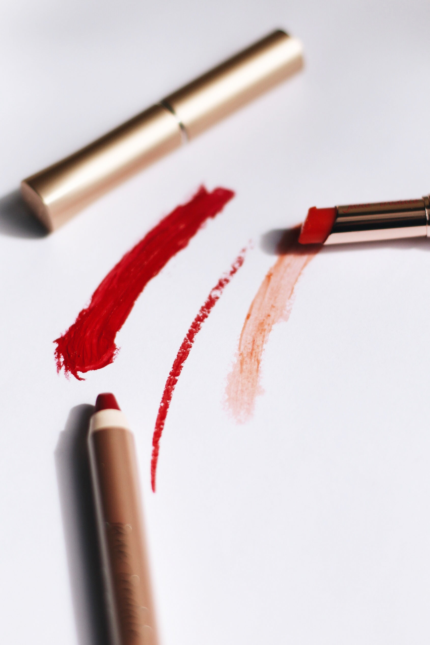 red lip product swatches