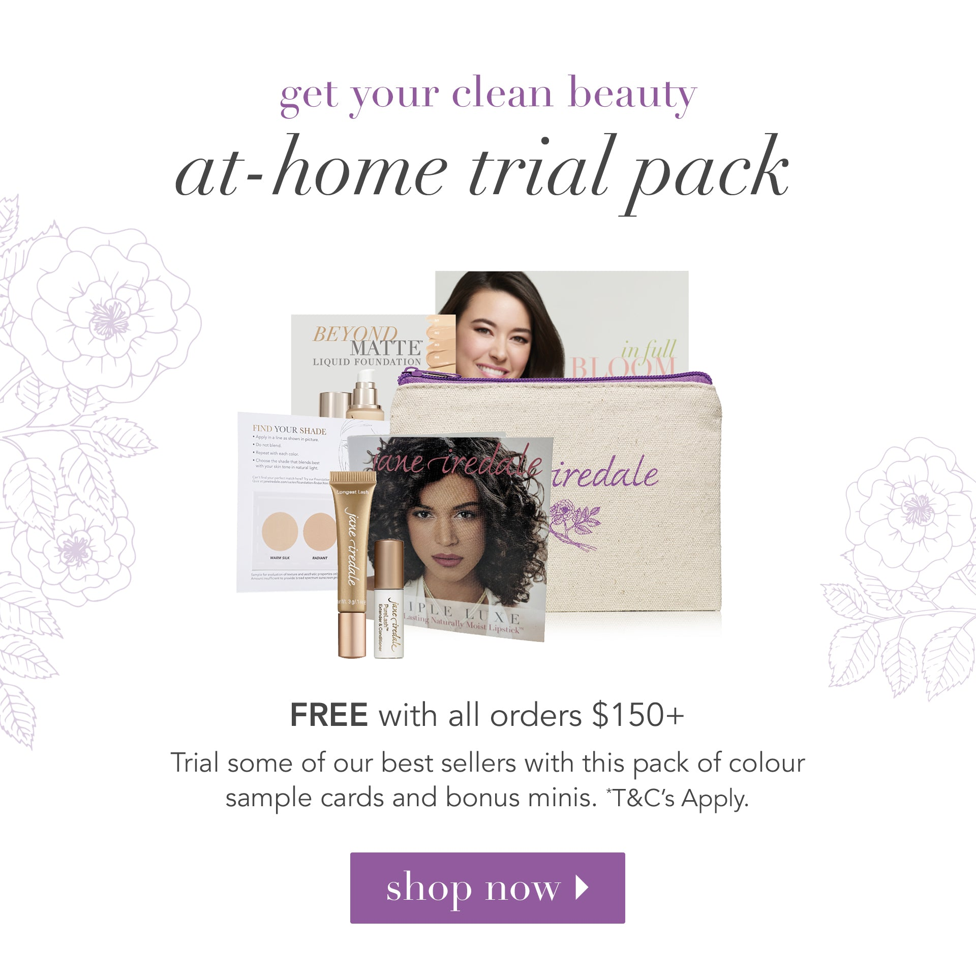 FREE at-home trial pack with orders $150+