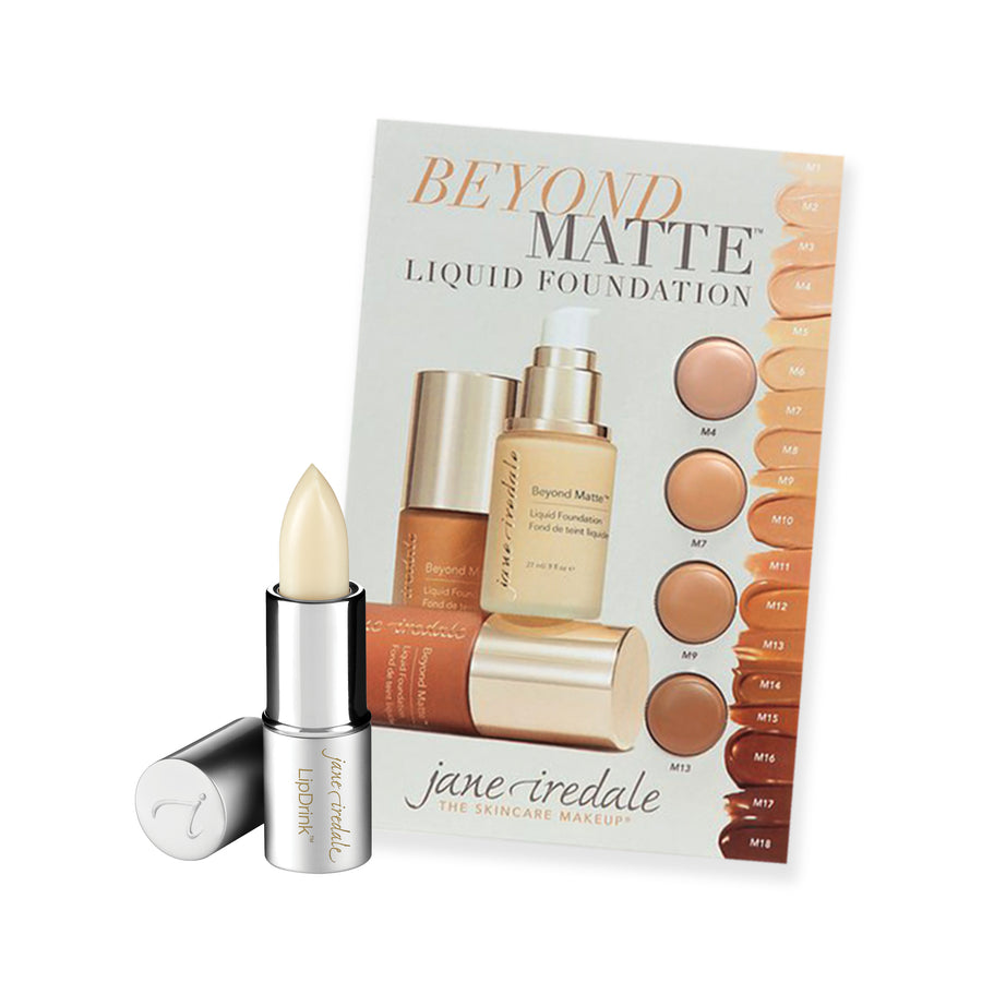 Sample Pack: Beyond Matte Foundation Sample Card & Mini LipDrink Lip Balm Sheer - jane iredale Mineral Makeup Australia