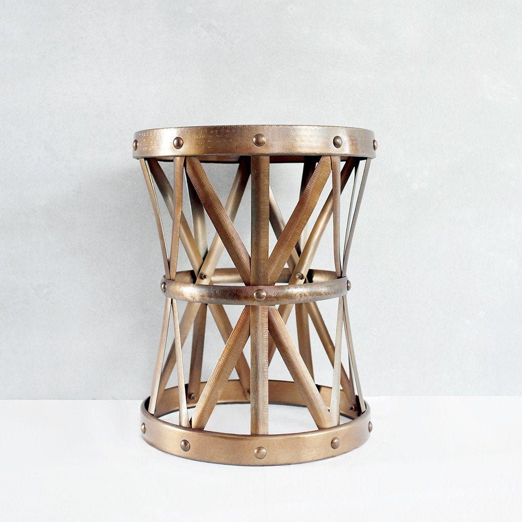 Latticed Brass Stool