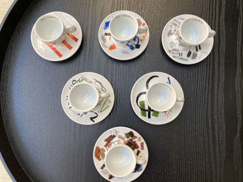 Illy 'Pen Tests' Set of 6 Art Collection Cups and Saucers