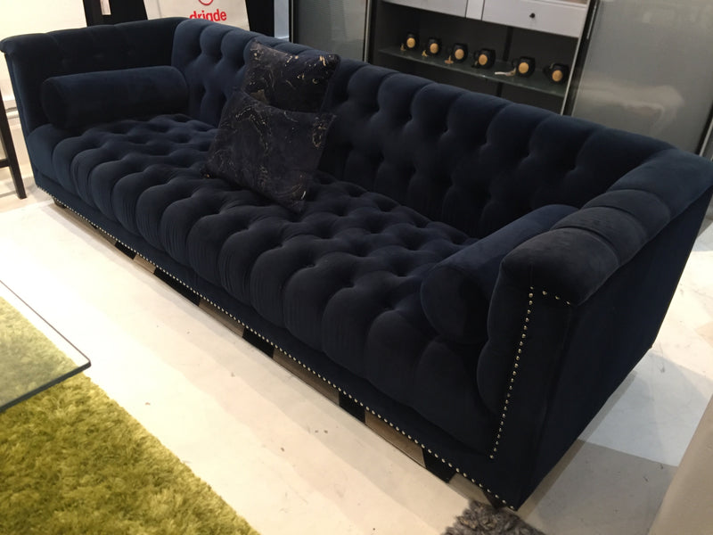 Living Edge Buttoned and Studded Velvet Sofa