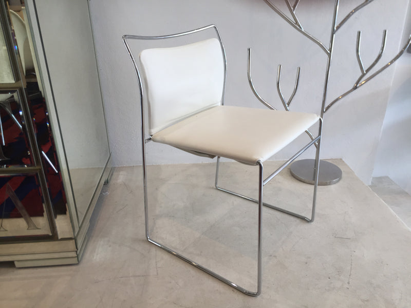 White Leather 'Tulu' Dining Chairs by Cassina