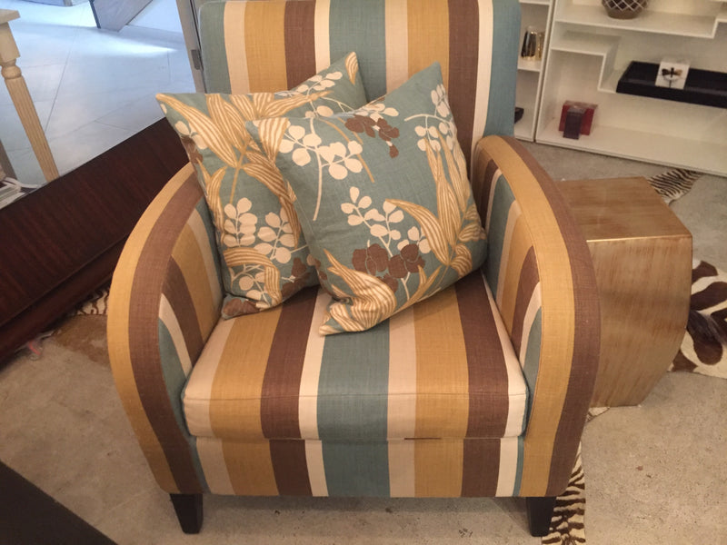 Striped Armchair and Matching Cushions